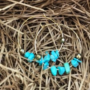 Jewelry - Gold hoops with turquoise beads